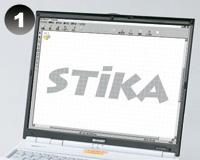 ステッカーの作り方:【1】パソコンで文字やイラストを自由にデザイン。スキャナで取り込んだ画像も使えます。